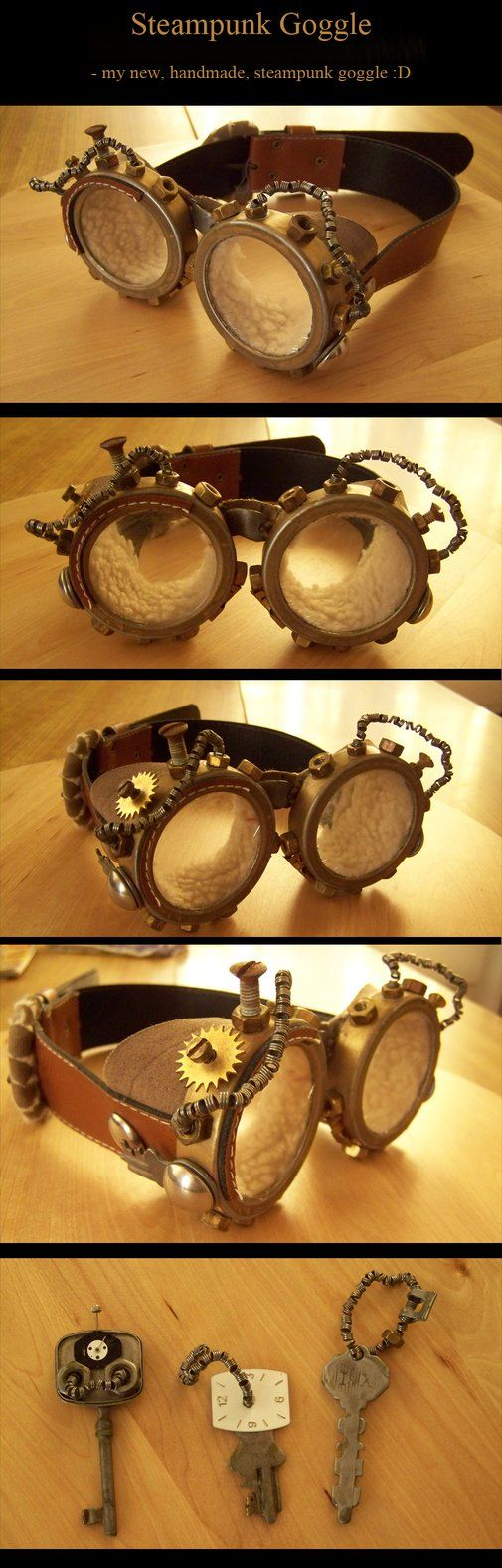 Steampunk Aviator Goggles by *kyphoscoliosis
