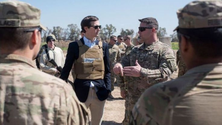 Behold idiot son-in-law Jared Kushner—the man now in charge of brokering Middle East peace, Uberizing the federal government, reforming the entire criminal justice system, and keeping Donald Trump's hands off his wife. This perfect still frame from a David O. Russell film has also been put in charge of beating ISIS. Yes, ISIS!
