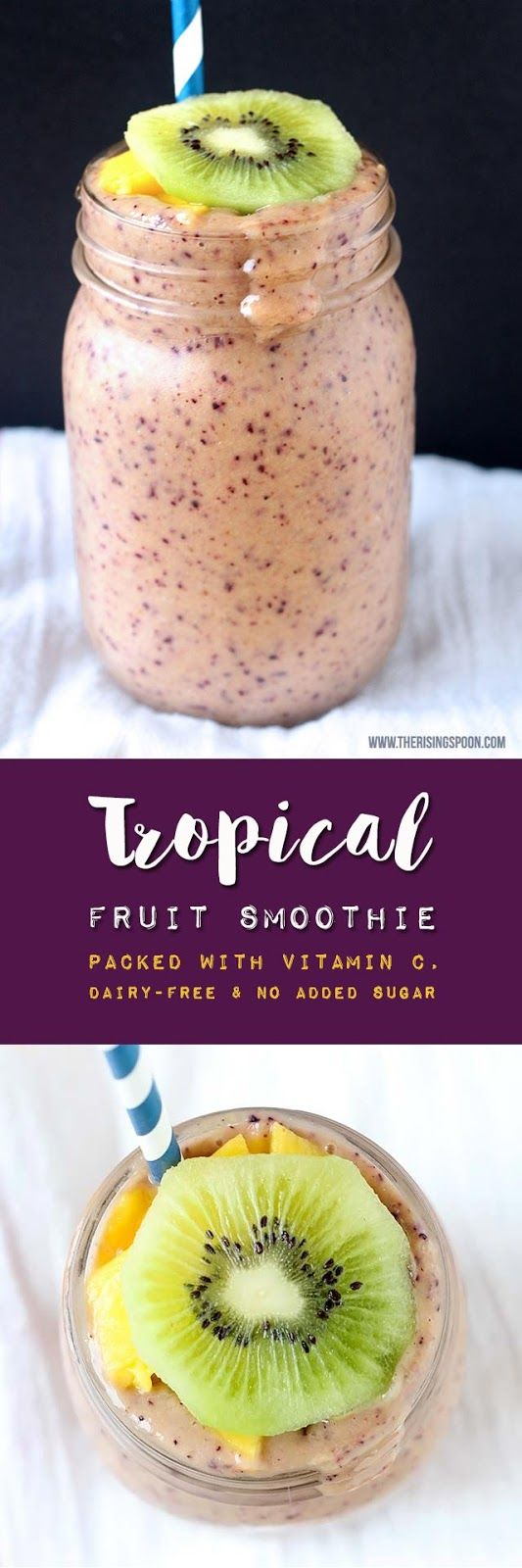 A healthy smoothie recipe with tropical fruits like mango and kiwi (both packed…