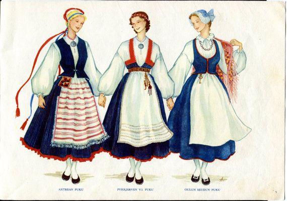 Finnish Womens Ethnic Dress 1950s Print - Puku Finland National Dress Kauhanen and Touri Antrea, Pyhäjärvi, Oulun seutu