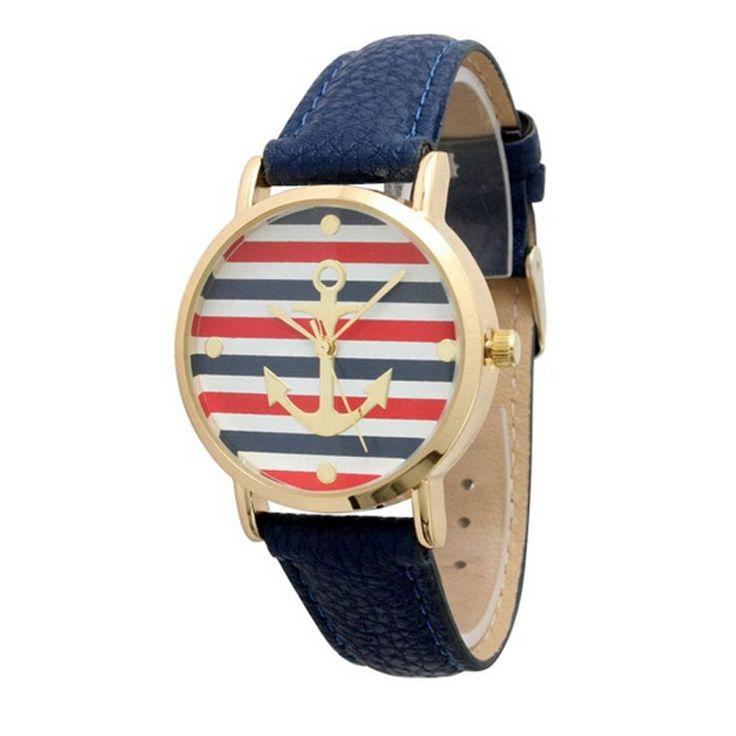 1 ШТ. Повседневная Relojes Mujer женские Часы Многоцветный Полосатый Якорь Кожаный Ремешок Кварцевые Наручные Часы Relogio женщина для 2016 #women, #men, #hats, #watches, #belts, #fashion
