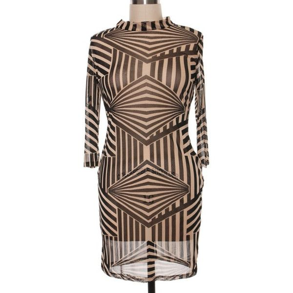 PLUS SIZE ALL SHEER GEO PRINT DRESS ($63) ❤ liked on Polyvore featuring plus size women's fashion, plus size clothing, plus size dresses, plus size brown dress, plus size body con dresses, mini dress, plus size bodycon dresses and bodycon mini dress