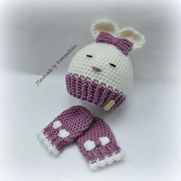 Crochet baby merino rabbit hat and mitts