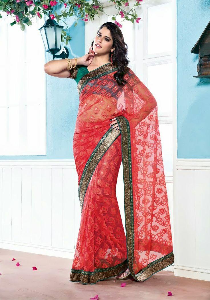 Red Color Cotton Net Brasso Designer Saree