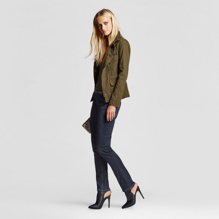 Women's Mid-rise Straight Leg Jeans (Modern Fit) Dark Wash 14 Long - Mossimo, Blue