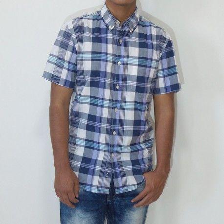 Camisa Sonoma manga corta con bolsillo a cuadros navy