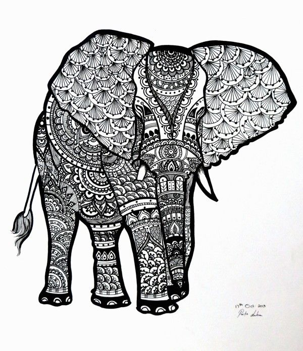 Zentangle Pattern Gallery | An elephant all zentangled.