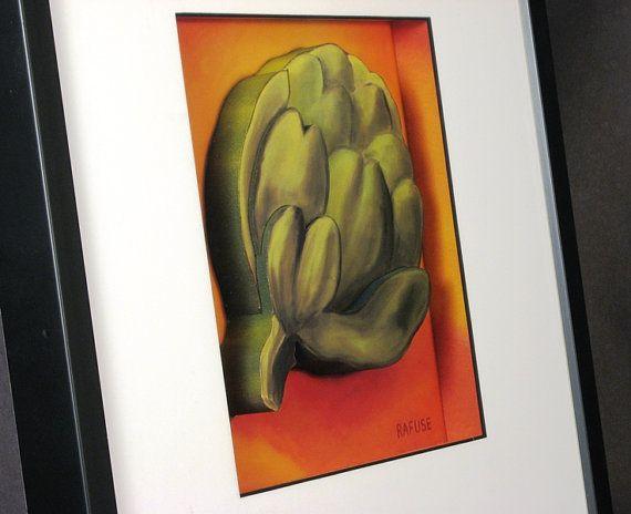 #Kitchen #WallArt, #Modern Kitchen Wall #Art, #Artichoke Art #framedart #vegetableart #kitchenart #cafeart #3DArt #3DArtwork #Painting #Colors #Colourful #green #Orange #Rafuse #3DPrints