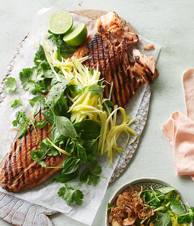 Australian Gourmet Traveller recipe for barbecued ocean trout with green mango and shallot salad.