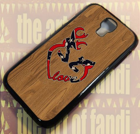 Deer Heart Love Flag Wood For Samsung Galaxy S4 Black Rubber Case