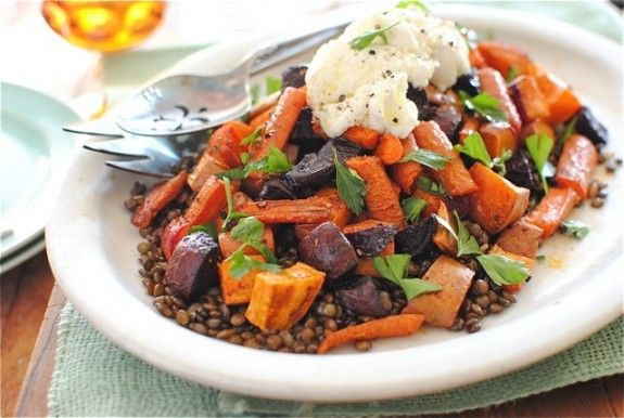 Roasted Root Vegetables with Lentils