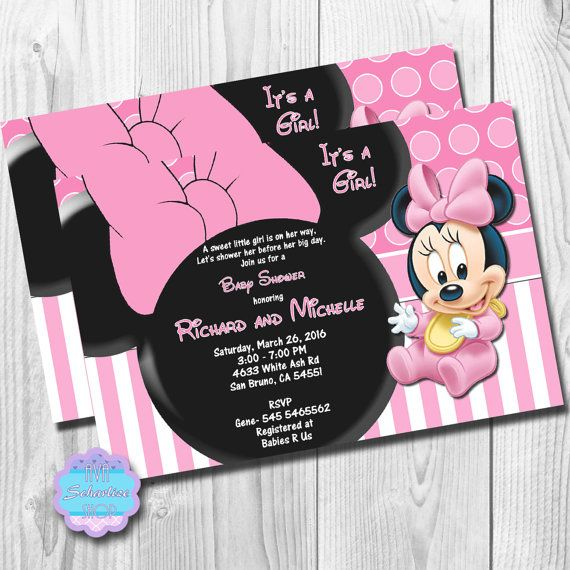 Baby Minnie Mouse Shower Invitation Birthday