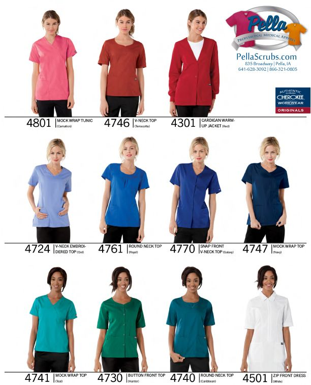 Cherokee Workwear Scrub & Uniform tops at Pella Scrubs Store | Starting @ $14.00