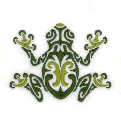 Tribal Tree frog --  seems like if you want you could make this all in one lighter green thread to resemble a regular frog. Free Embroidery Designs and Free Embroidery Downloads | Starbird Stock Designs