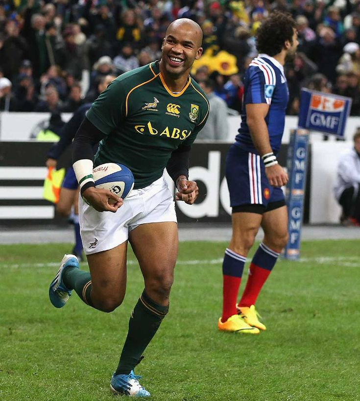 South Africa's JP Pietersen celebrates his try