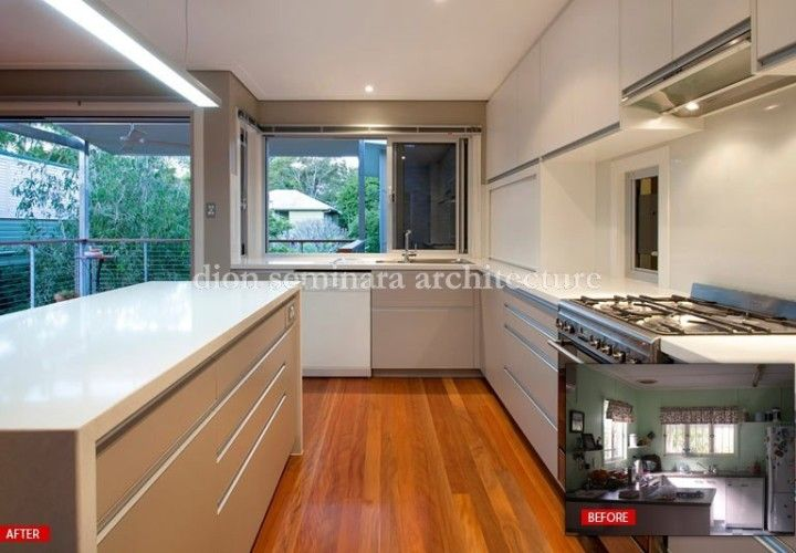 Before and after ... kitchen renovation by Brisbane Architect Dion Seminara Architecture