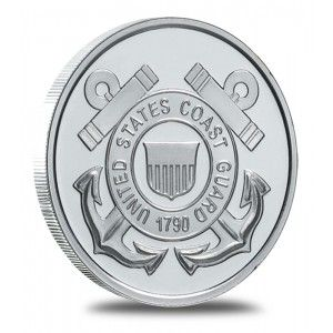 """Each Coast Guard silver bullion round contains 1 Troy Ounce of .999 Fine Silver.  The obverse bears a resemblance to The United States Coast Guard Portal with crossed anchors behind a shield. The words """"UNITED STATES COAST GUARD"""" & the date """"1790"""" surround the shield.  The reverse of each round is hallmarked """"ONE TROY OUNCE .999 FINE SILVER"""" and provides ample room for customized engraving.  Each round will arrive in an Direct Fit Air-Tite Capsule and a black drawstring pouch."""