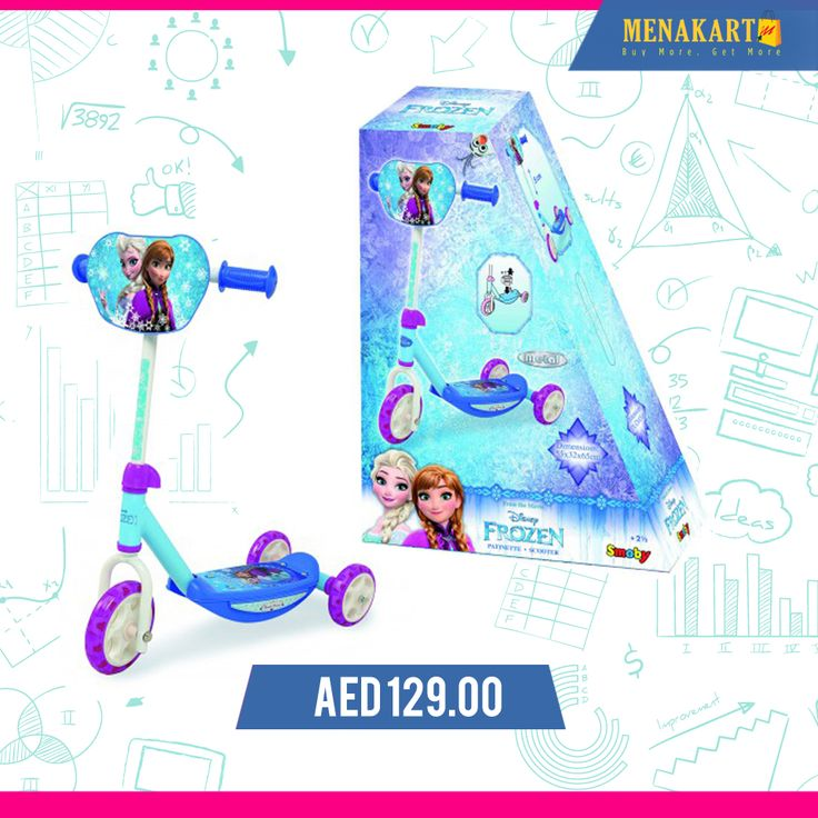 Smoby - Frozen 3 Wheels Scooter #kids #toys #games #online #wheelscooter #scooter #shopping #menakart