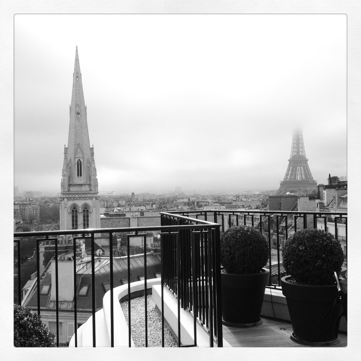 The view from the penthouse at the Four Seasons George V in Paris. I took this picture using my iPhone 4S and Instagram.