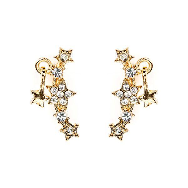Starry Short Drop Earrings Gold