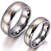 8mm /6mm Gold Tone Center Silver Tungsten Carbide Ring Couples Dome Wedding Band