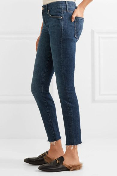 Mother - Looker Cropped Frayed Mid-rise Skinny Jeans - Dark denim