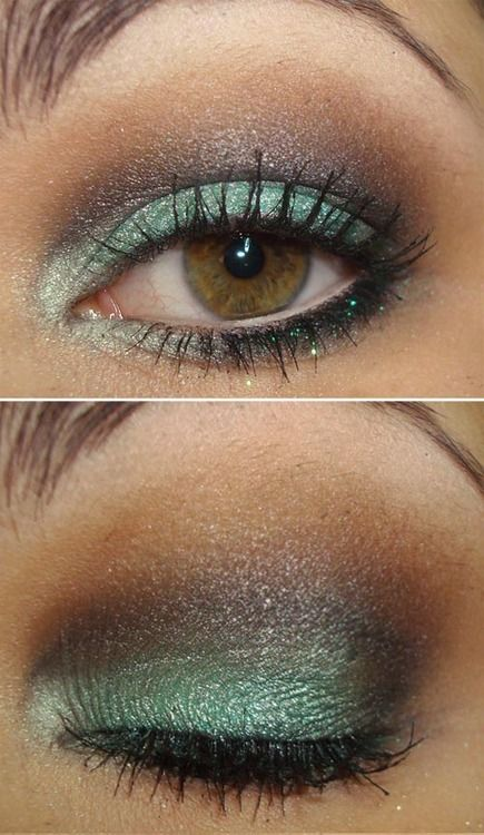 teal and brown.  brown eyes can wear any color eyeshadow.... Mary Kay Spring eye shadows could put this look together