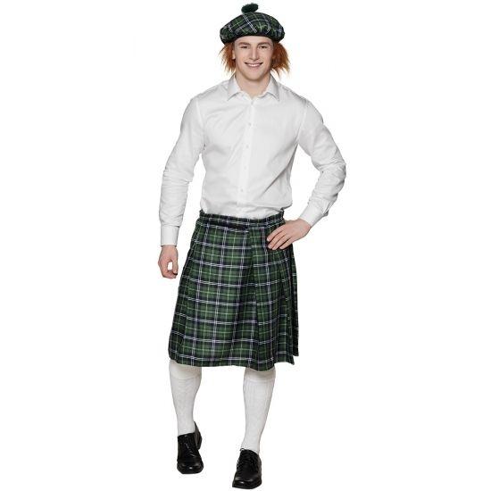 Groene Schotse kilt voor heren  Deze Schotse rok met groene ruit is geschikt voor gemaakt van polyester. De buikrand is verstelbaar en daardoor geschikt voor herenmaat M t/m XL.  EUR 12.95  Meer informatie