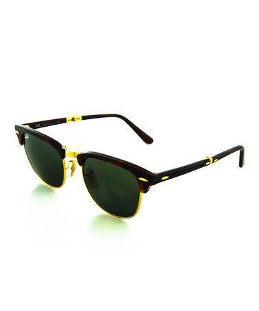 Look what I found on #zulily! Havana & Dark Green Clubmaster Folding Sunglasses #zulilyfinds