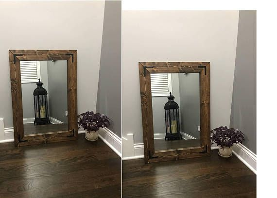 Cottage Mirrors, Dark Stain Mirror Set, Double Mirrors, Floor, Bathroom,  Double