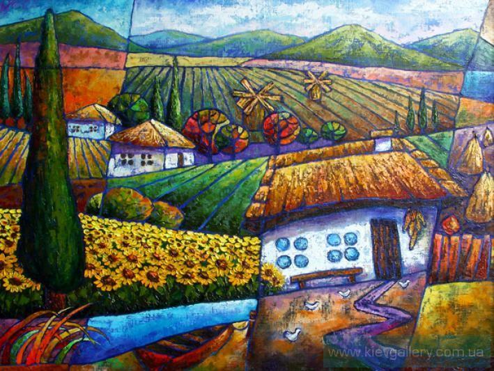 Картина «Поля подсолнухов. Украинские мотивы», Художник Лаптева Виктория