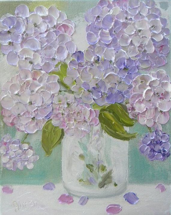 Fresh Hydrangea's Oil Painting impasto canvas by KenziesCottage