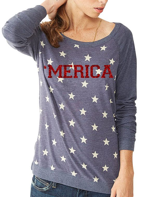 Merica Stars and Stripes Patriotic Shirt  by FitGirlClothing