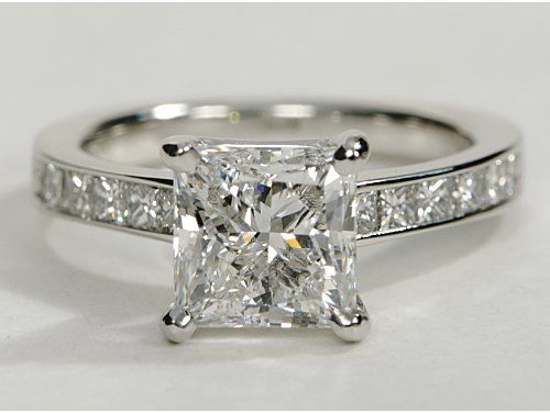 Superb romano Princess Cut Channel Set Engagement Ring in k White Gold ct