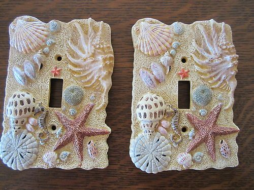 Set of two Sea shell light switch cover, single tongle
