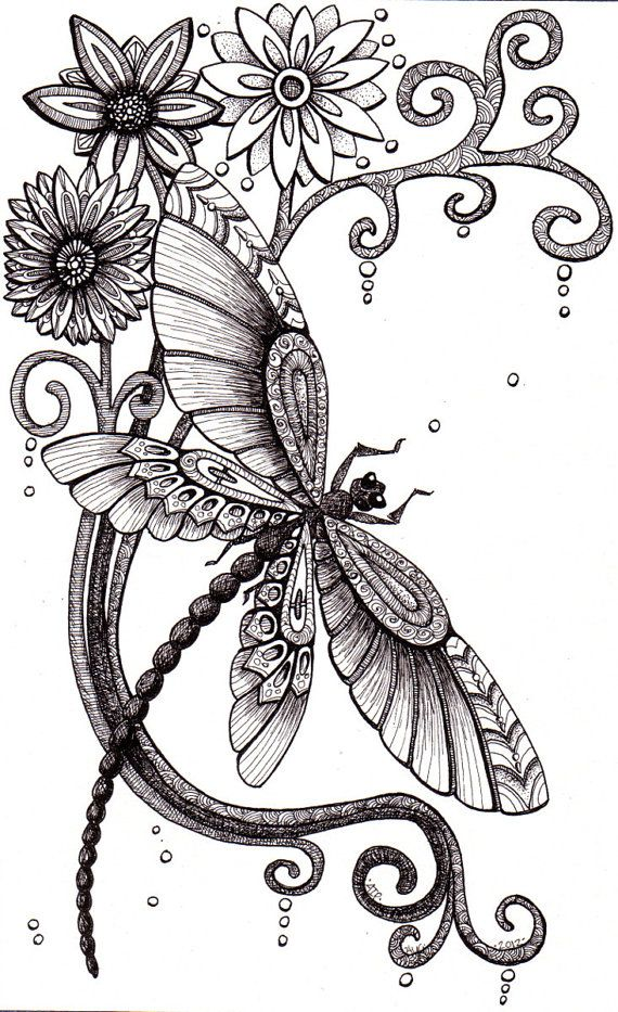 @Amber Ridinger                                 Fly Away. Beautiful and original whimsical abstract psychedelic stylised Ink drawing illustration dragonfly flower swirls