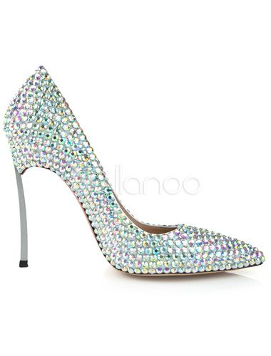 Pointy Toe Shoes with Rhinestones Detailing - Milanoo.com