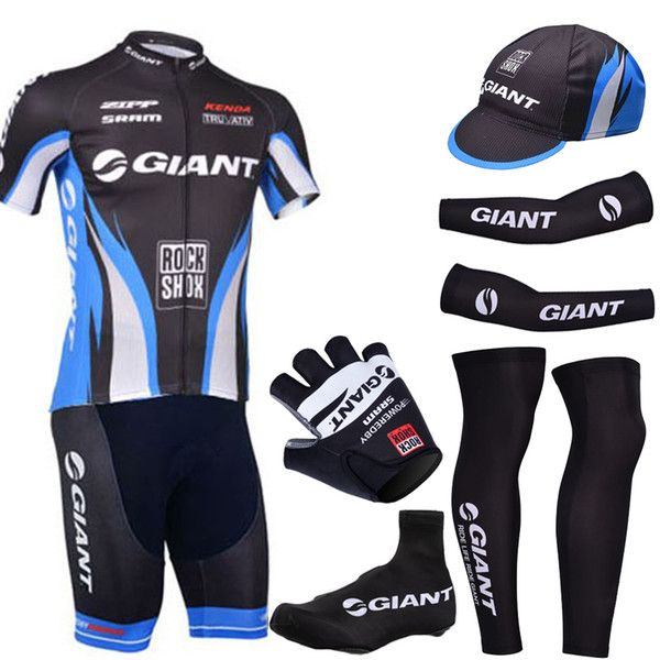 Free Shipping Pro team 2016 Black giant cycling jersey bibs shorts gel bikesuit set with cycling arm warmers and giant bike gloves
