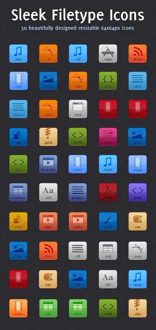 Sleek Filetype Icons