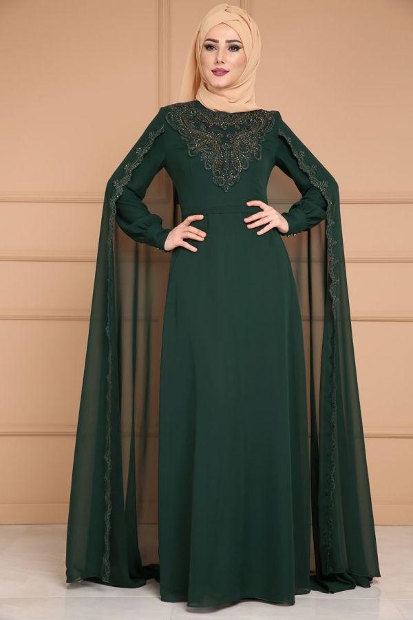 2ee7e00b998c1 ** YENİ ÜRÜN ** Pelerini Güpürlü Şifon Abiye Zümrüt Ürün kodu: ALM52676 -->  164.90 TL   moda 1 in 2019   Elbiseler, Islami moda, Türban kıyafetler