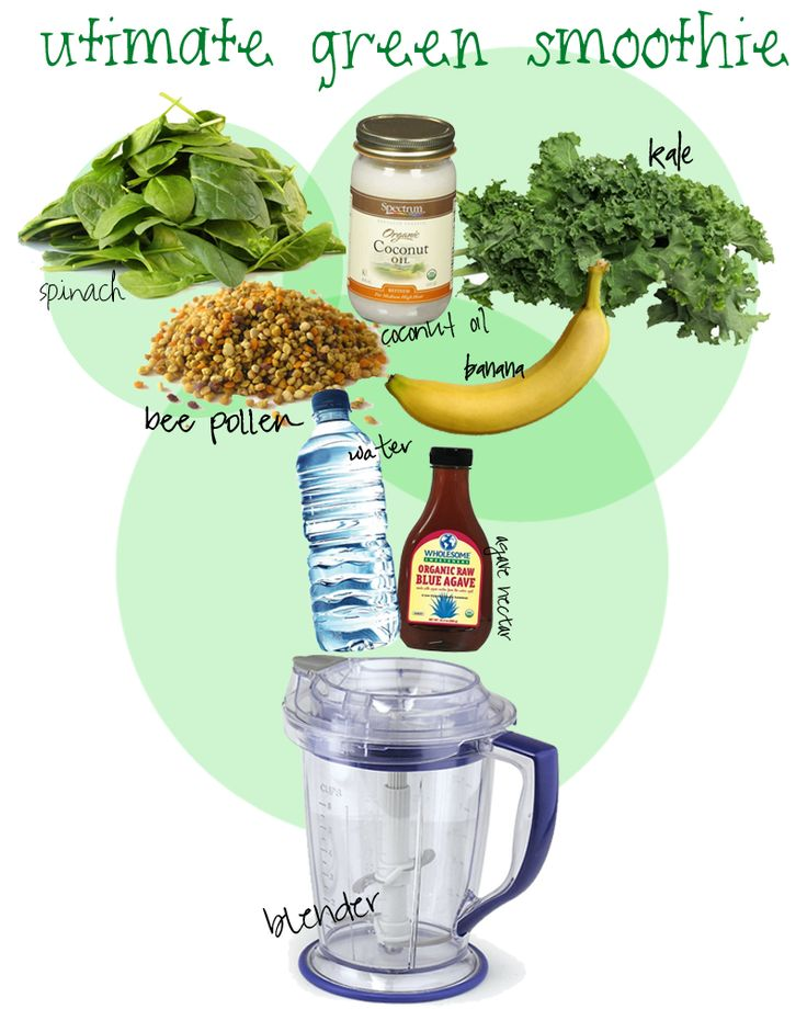 Recipe:    (1) handful of spinach  (1) handful of kale  (1) tbsp. coconut oil (healthy fat)  (1) banana (you can also use green apples, berries, etc.)  (2) tablets of bee pollen  (1) tbsp. of agave nectar (for sweetness)  water (you can use coconut water or green tea)  (1) Ninja blender (any blender will work)