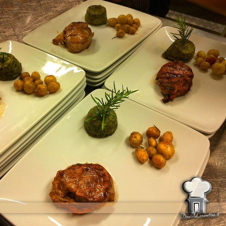 Filetto lardellato con patate novelle e tortino verdure