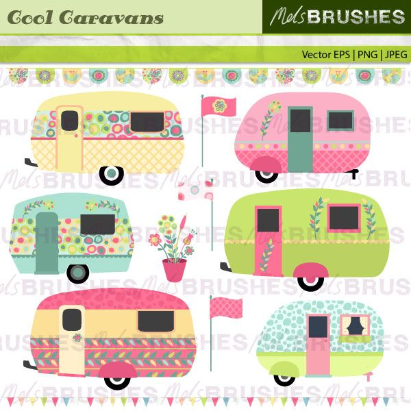 Appliqué inspiration!   A pretty pastel set of retro vintage, caravans, flags and bunting.