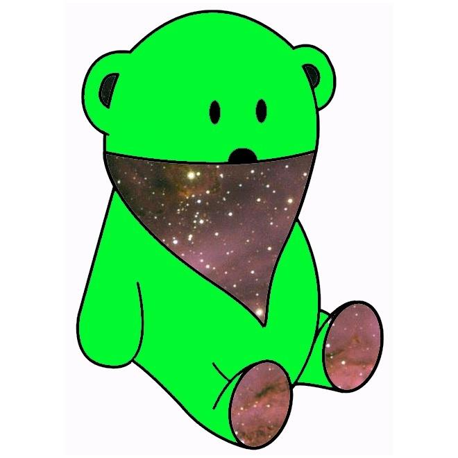 neon green bear & space bandana