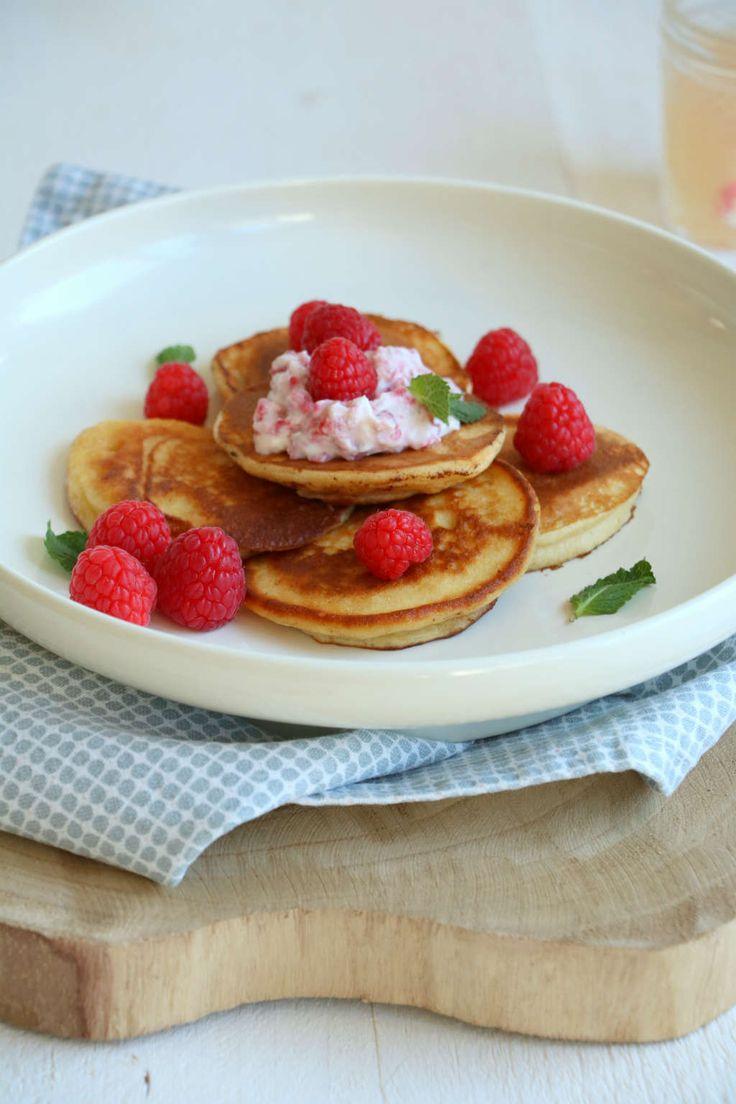 ricotta pannenkoeken met frambozen. Heerlijk voor de Pasen of gewoon omdat het kan.