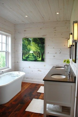 Whitewashed walls on knotty pine in bathroom? I want this in my laundry room.