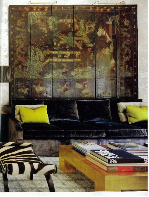 excellent mix: Coffee Tables, Living Rooms, Windsor Smith, Velvet Couch, Chairs Fabrics, Interiors Design, Screens, Architecture Digest, Velvet Sofas