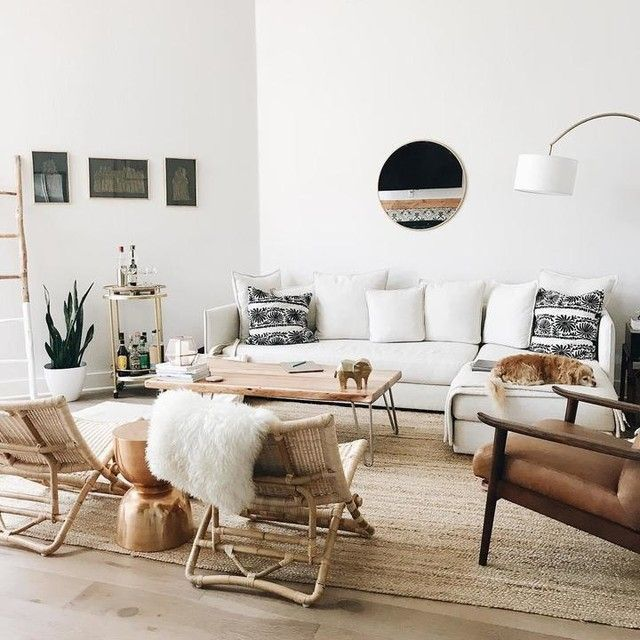 Cozy Bright Living Room With Jute Rug And White Sofa Whitesofa