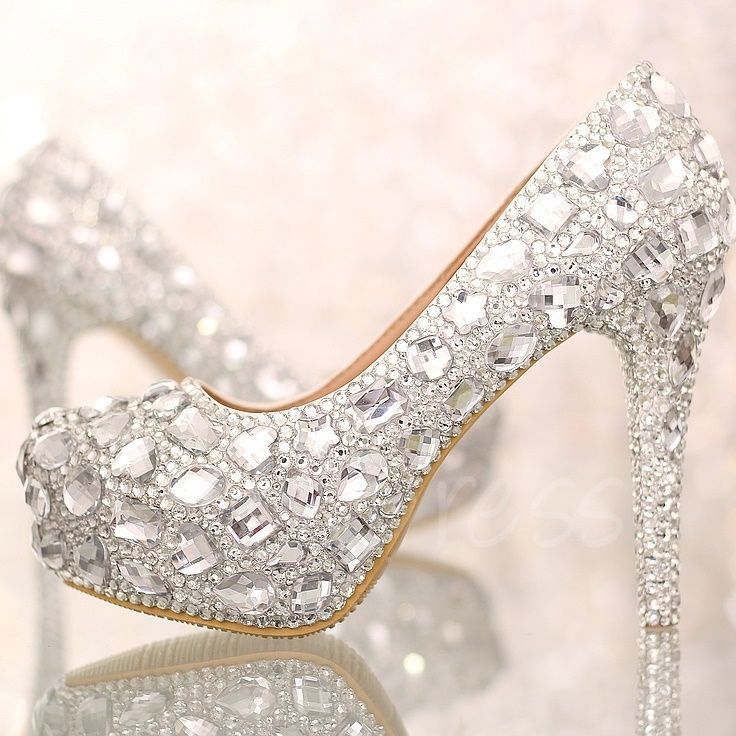 Closed Toe Silver Rhinetone Stiletto Heel Wedding Shoes - m.tbdress.com