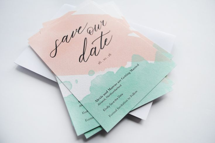 Pastel watercolour Save the Dates, Summer Wedding Save the Date Card, Bespoke Wedding Calligraphy, Pink and Green Wedding, Fairytale Wedding